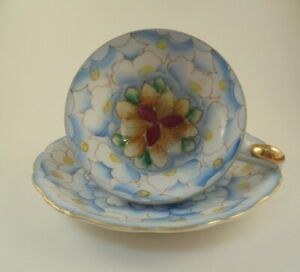 Vintage Reco Japan 3 Footed Cup Saucer Blue Multicolor Flower Ebay