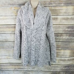 Kensie-Size-L-Gray-Marled-Cowl-Neck-Cable-Knit-Sweater-Staple-Womens