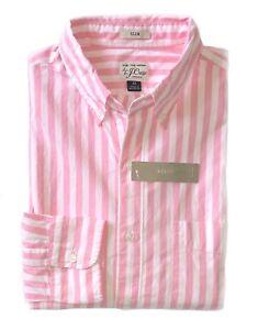J-Crew-Mens-M-Slim-Fit-NWT-Pink-White-Striped-Secret-Wash-Cotton-Shirt