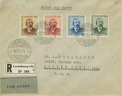 1945 Luxembourg #b147-b150 Registrierte Fdc Tag Cover To California