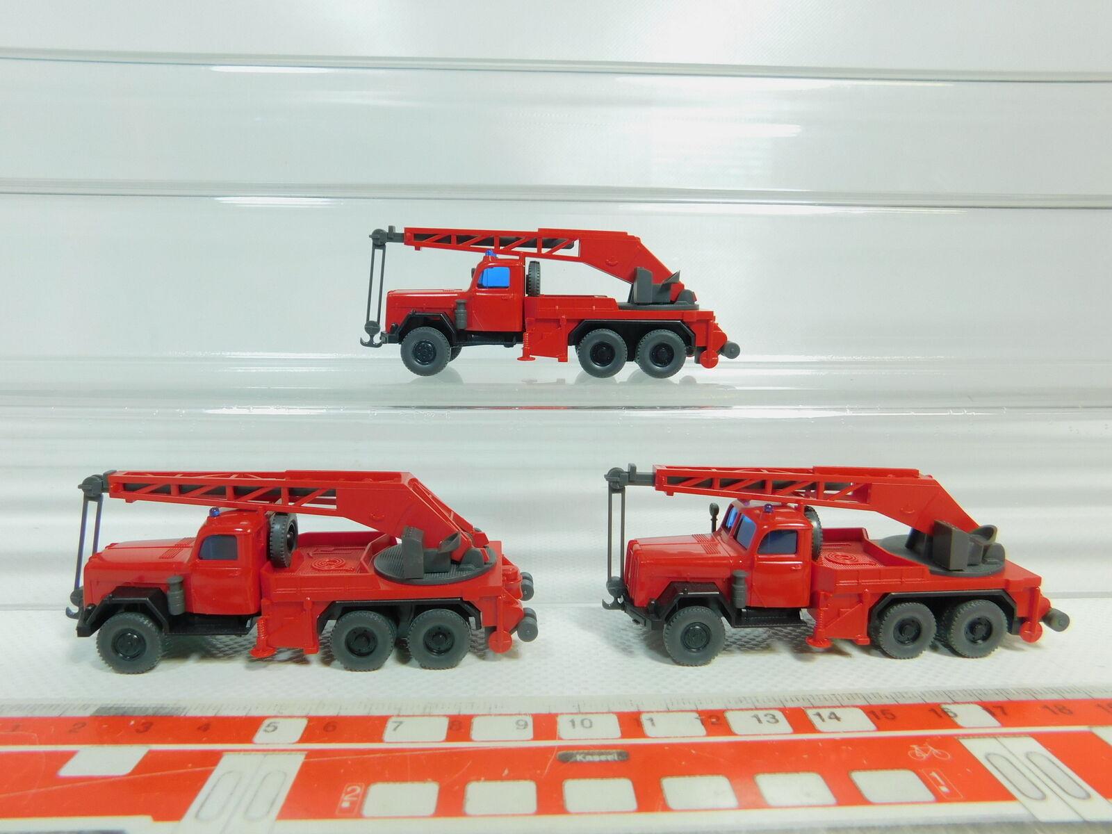 Bo558-0,5   3x wiking h0   - 87 kran -    kranwagen modell magirus fw   feuerwehr, neuw b1e623