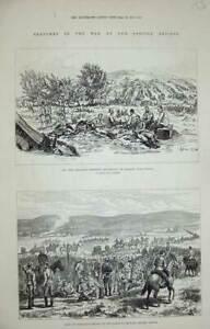 Original-Old-Antique-Print-Roumanian-Seirs-1877-War-Plevna-Bryslan-Dorobantz