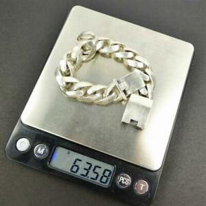 """Classic Heavy Chunky Sterling Silver Flat Curb Chain Men Bracelet 7.75/"""" 8/"""" 8.75/"""""""