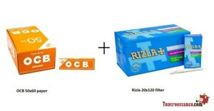 70mm Orange OCB Pack 50 opuscoli + 5,7 mm Ultra Slim rizla  - 20 scatole da 120