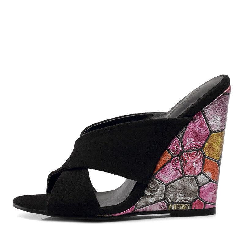 prezzi bassissimi donna Super High Heel Heel Heel Wedge nero Floral Printed Slip On Platform Mules Sandals  prima i clienti