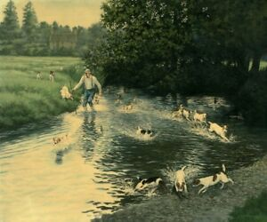 Eddie Chapman's Print of his oil painting Foxwarren Working Jack Russells No 5