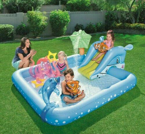 Large Family Swimming Pool Aquarium Easy Inflate 8.5FT Activity 308L Chad Valley