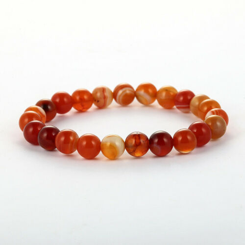 Natural Red Laced Agate Striped Bracelet Stone Bead Charm Heal Gift 6mm 8mm