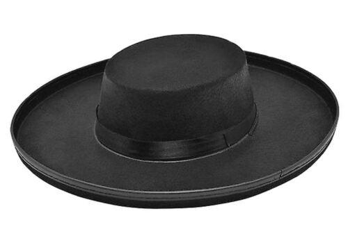 Budget Adulti Nero Feltro BRIGANTE Bandito Zorro VENDETTA Stile Cappello Costume