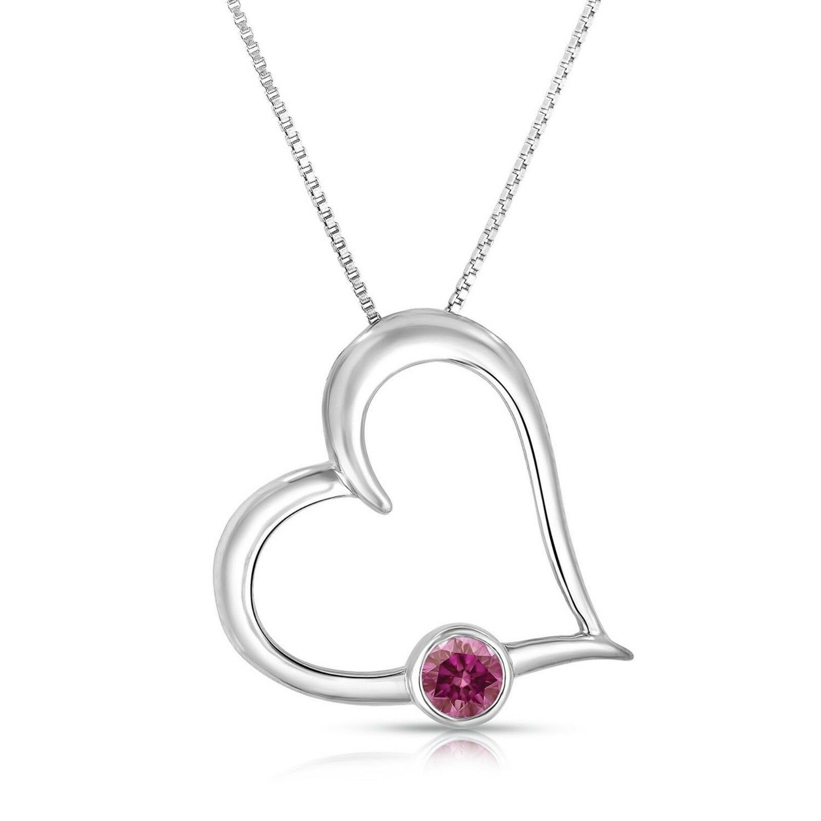 0.25 Ct Pink Solitaire Diamond Heart Shape Pendant 14k WG Valentineday Spl.Sale