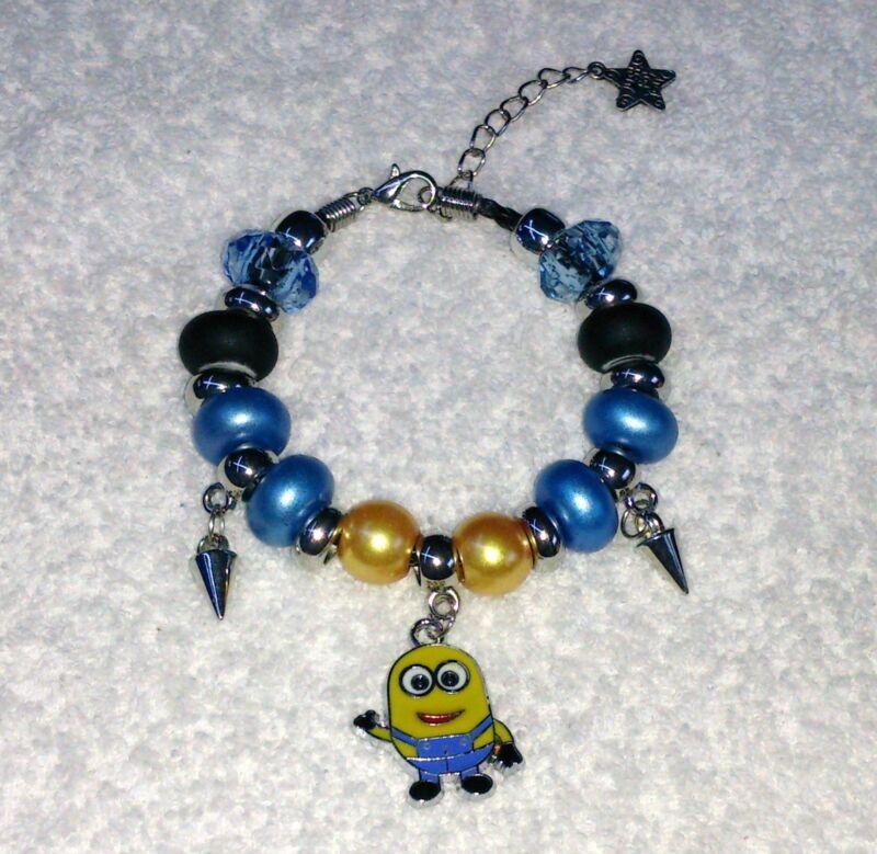 Cute European Beaded Bracelet Minion Charm Blue Free Gift Bag E