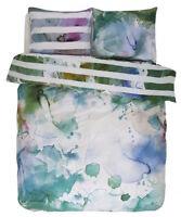 Essenza Satin Bettwäsche Lewis Green Aquarell Batik Streifen Grün 135x200 cm