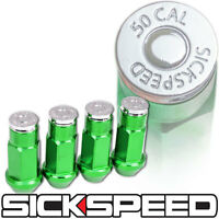 Sickspeed 4 Pc Green/.50 Cal Chrome Bullet 50mm Lug Nuts Lugs Wheel 12x1.5 L02