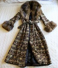 VINTAG ANNE KLEIN BOHEMIAN BROWN TAPESTRY FOX FUR LONG TRENCH COAT JACKET SM/MED