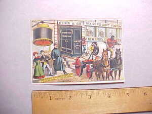 1880s-KERR-039-S-SPOOL-COTTON-THREAD-TRADE-CARD-GIANT-SAFE-HAULED-USING-THREAD-VG