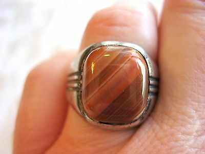 ART DECO STERLING SILVER MAN'S MEN'S RING BANDED STRIPED AGATE MAKERS MARK