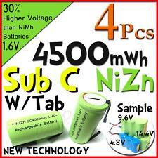 4 Sub C 4500mWh 1.6V Volt NiZn Rechargeable Battery Cell Pack With Tab Green