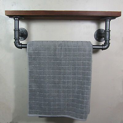 URBAN INDUSTRIAL RUSTIC IRON PIPE TOWEL RAIL WOODED SHELF SHELVING STORAGE