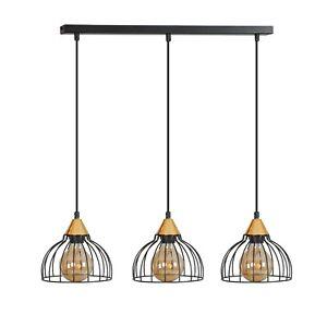 Modern-3-Ceiling-Light-Metal-Shade-White-Black-Copper-Cage-Industrial-LOFT-GRIP
