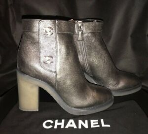 New CHANEL Gunmetal Gray Leather CC Turn Lock Booties Boots 38.5 7 ...