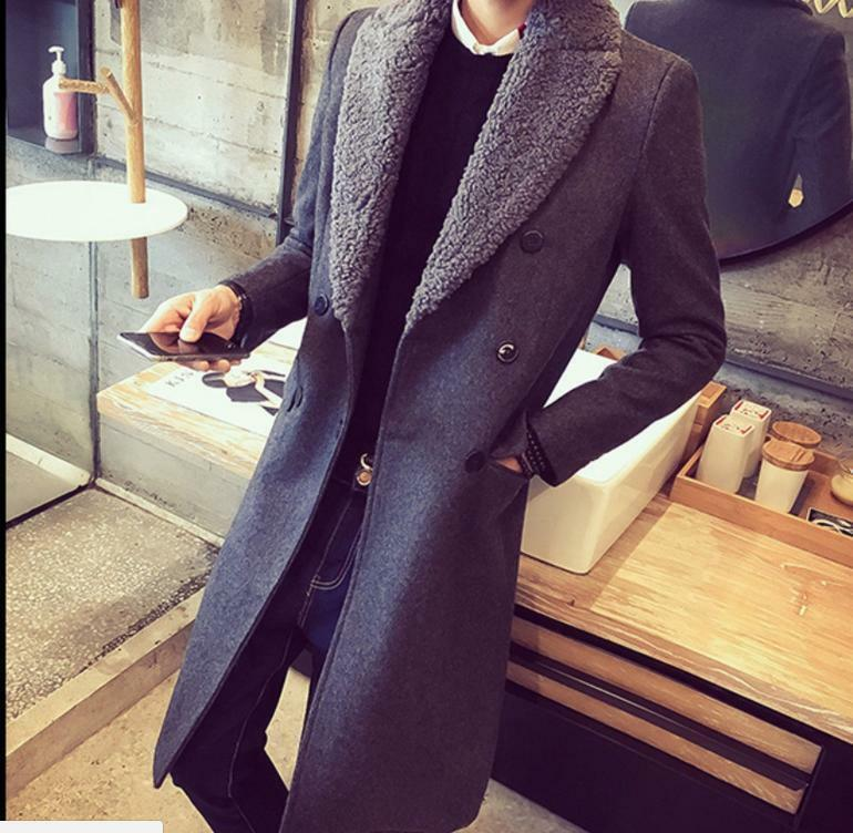 Stylish Mens Long Fur Collar Trench Winter Long Slim Outdoor Business Coat  SY