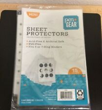 15 Mini Heavyweight Sheet Protectors Top Loading Reinforced 7 Hole 55 X 85