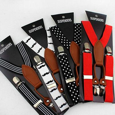 Kids Boys Girls Clip-On Adjustable Y-Back Suspender Belts Straps Braces Glit HR