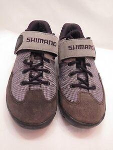 Shimano Sh-M038 Cycling Mtn Biking Shoes Gray Suede Size 37 4.5 M Velcro 2 Bolt
