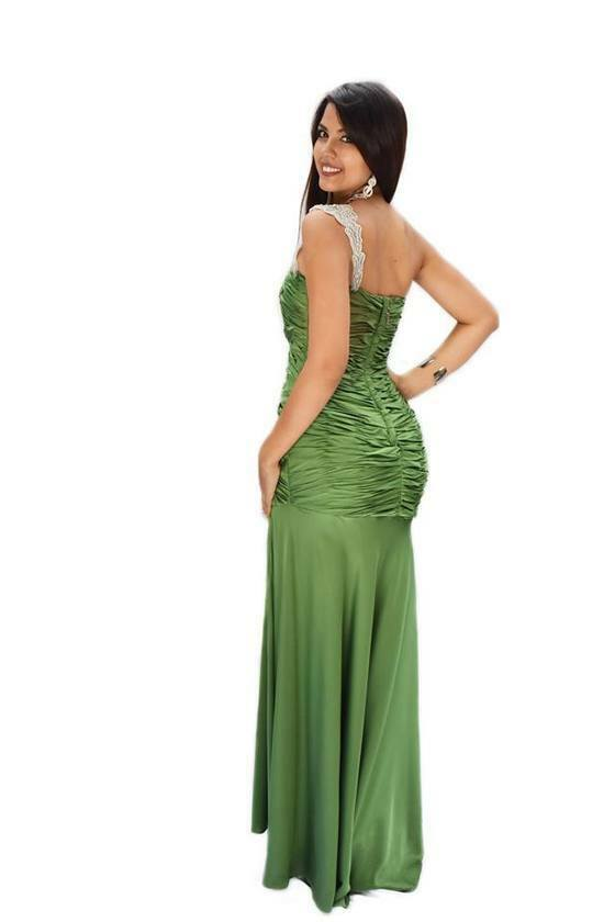 Off the Shoulder Green Evening Gown