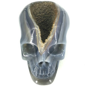 Unique-4-4-034-Geode-Agate-Carved-Crystal-Skull-Crystal-Healing