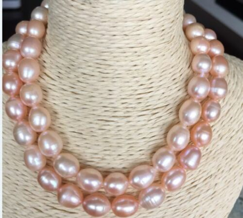 """double strands 9-10mm south sea lavender baroque pearl necklace18/""""19/"""""""