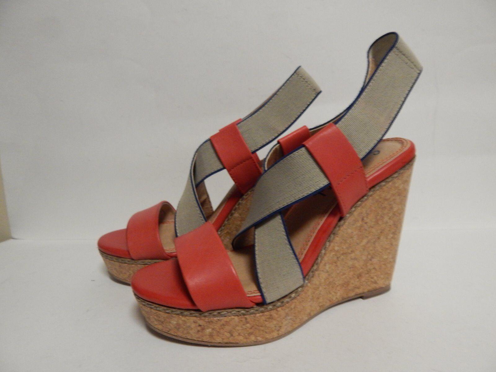Splendid Kellen Wedge Heel Sandal 7 M Strawberry Leather  New with Box