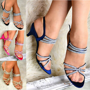 Ladies-Low-Satin-Heel-Sparkly-Diamante-Strappy-Slingback-Party-Evening-Shoes