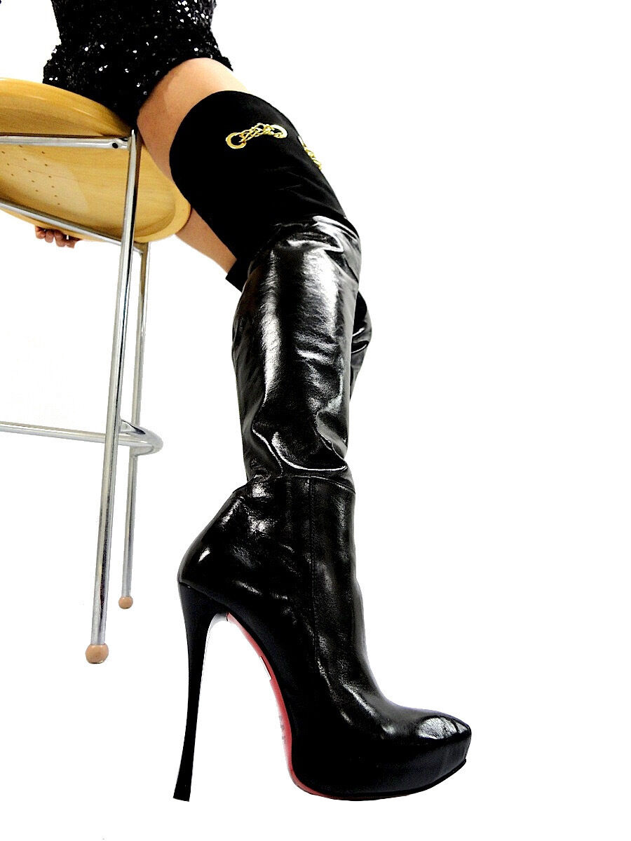 MORI MORI MORI ITALY OVERKNEE PLATFORM HEELS BOOTS STIEFEL STIVALI LEATHER BLACK black 40 cafb05