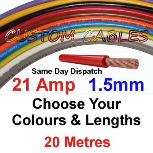 20m GREEN//YELLOW 21A 12v AUTO CABLE 1.5mm//sq CAR WIRING LOOM WIRE AUTOMOTIVE