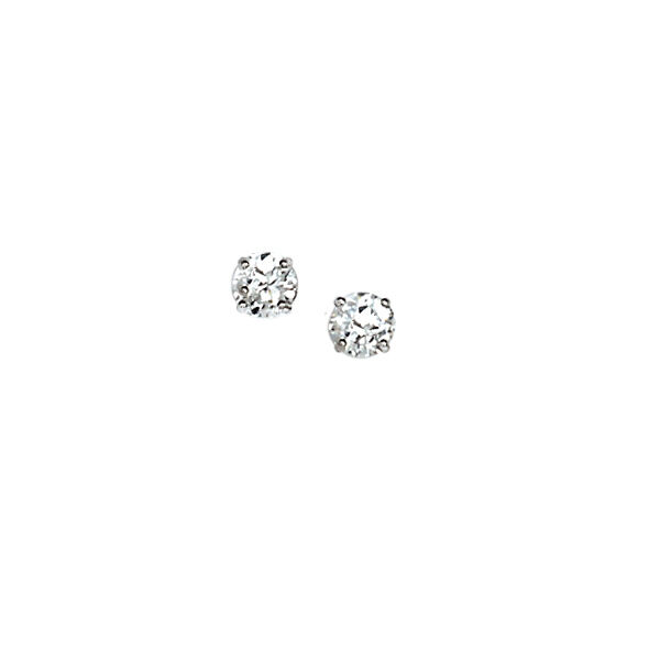 14KT White gold Round Prong Set Stones Stud Post Earring NEW 4 mm Each