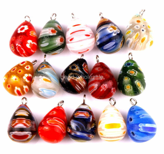 Wholesale 30pcs Glass Tear Drop Pendants Charms For Earring Necklace Jewelry DIY