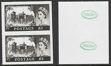 GB QEII  (2109) - 1955 Castle £1 IMPERF pair -  a Maryland FORGERY unused