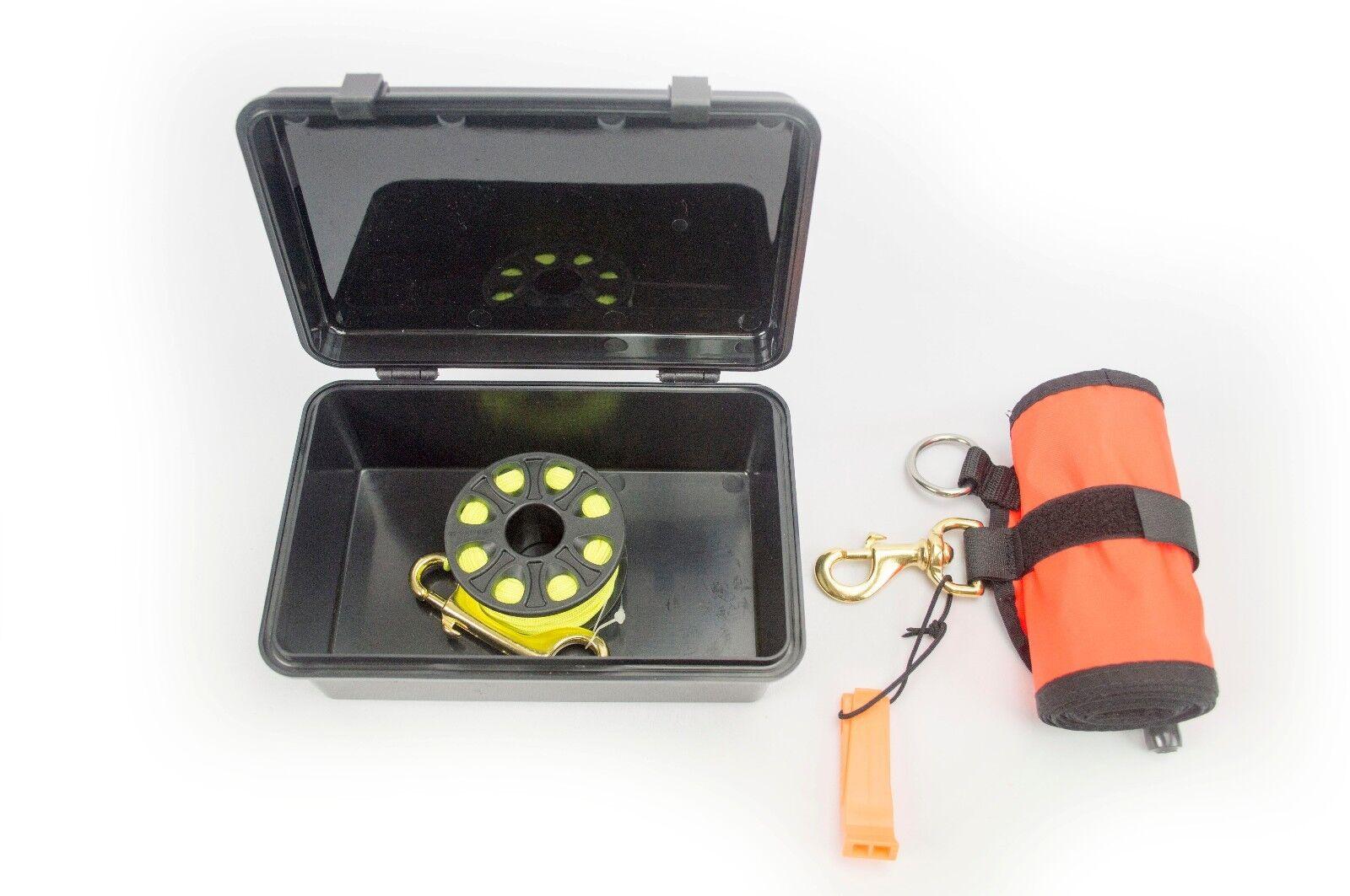 {165ft-50m} Finger Spool Neon Yellow + Dry Box + Surface Marker Scuba Diving kit