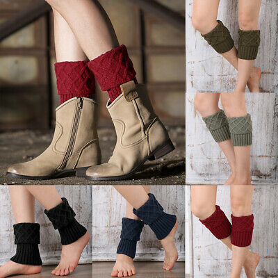 Womens Lady Knitted Crochet Trim Boot Cuffs Toppers Leg Warmers Socks New