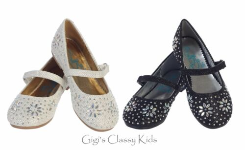 New Kids Youth Girls Dress Glitter Shoes Flats Rhinestones Wedding Party Pageant