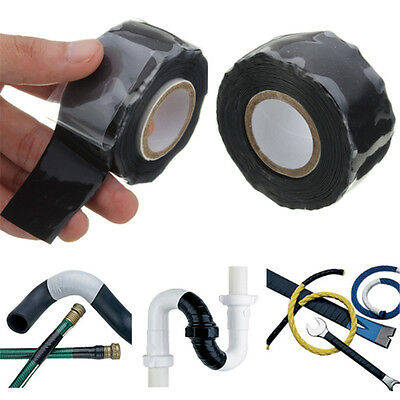 Black Silicone Performance Repair Bonding Rescue Self Fusing Wire Hose Tape 10FT