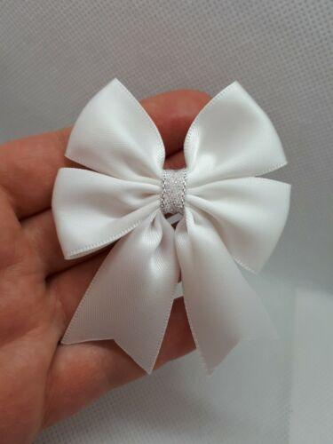 6 Large 6cm Satin Bows Self Adhesive Wedding Sew White Silver Baby Shower UK.