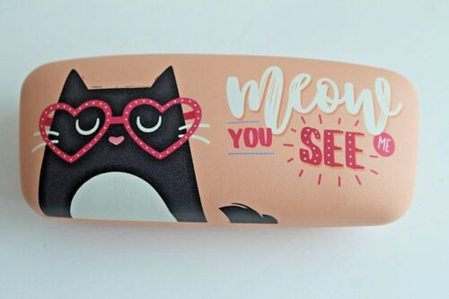 Hard Moulded Snap Shut Glasses Sunglasses Case  4 Cat designs  Meow Feline