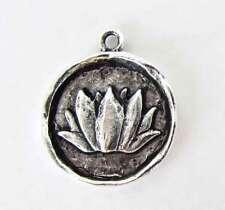 Antiqued Silver Ox Lotus Flower Charm Pendant Medallion Nunn Design 24mm