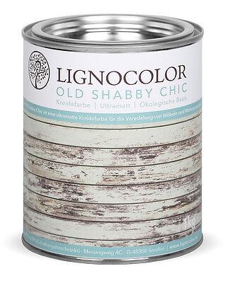 Lignocolor Kreidefarbe Shabby Chic Holz Möbellack Antiklook Farbe White wash 1kg