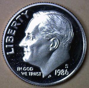 1986-S-Preuve-Roosevelt-Dime-Ten-Cent-Piece-de-Monnaie-10c