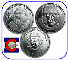 2015/2016 Republic of Congo Prooflike Silverback Gorillas -- 2 coins in airtites
