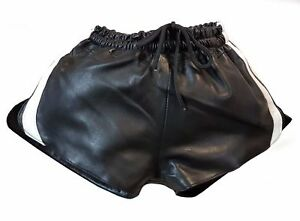 Leather short with elastic band made of lamb nappa Waist 32-34-36-38-40-42-44