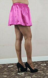 Satin-Pink-Mini-Skirt-Women-039-s-Ladies-Girls-Elasticated-High-Waist-Short-055